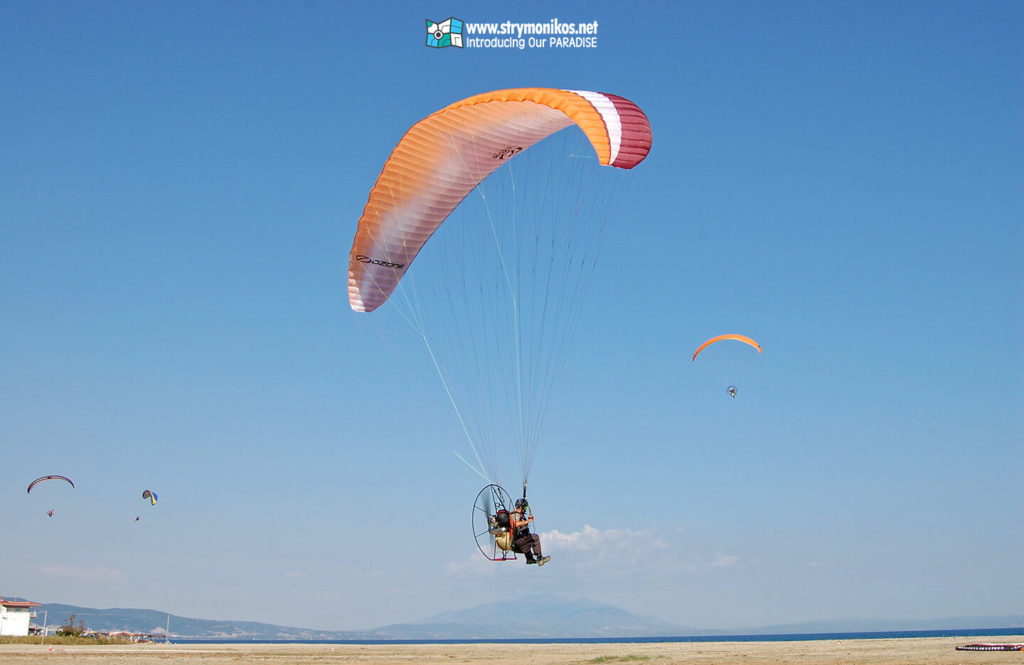 Paramotoring above Strymonikos Bay